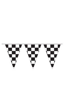 Black/White Checkered Triangle Pennant