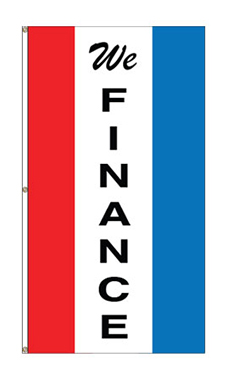 "Small Vertical Stripe Message Flag - ""We Finance"""
