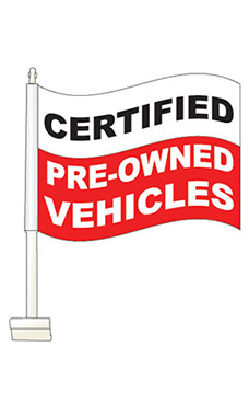 "Window Clip On Flag - ""Certified Pre-Owned"" - Red"