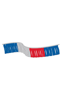 120 foot Red/Silver/Blue Metallic Fringe Pennant