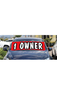 "Windshield Banner With Bungee Cord - ""1 Owner"""