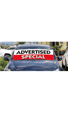 "Windshield Banner With Bungee Cord - ""Advertised Special"""