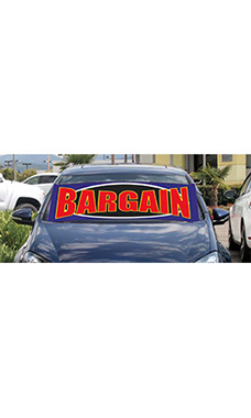 "Windshield Banner With Bungee Cord - ""Bargain"""