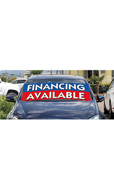 "Windshield Banner With Bungee Cord - ""Financing Available"""
