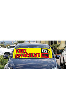 "Windshield Banner With Bungee Cord - ""Fuel Efficient"""