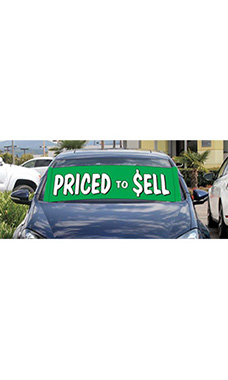 "Windshield Banner With Bungee Cord - ""Priced To Sell"""