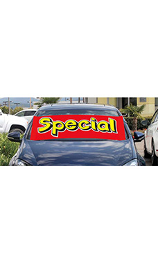 "Windshield Banner With Bungee Cord - ""Special"""