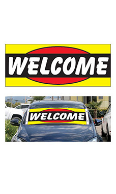 "Windshield Banner With Bungee Cord - ""Welcome"""