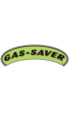 "Arch Windshield Slogan Sticker - Black/Neon Green - ""Gas Saver"""