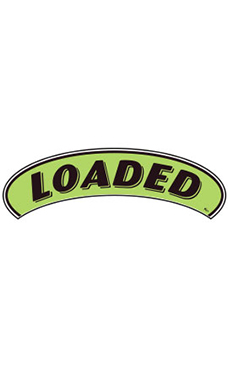 "Arch Windshield Slogan Sticker - Black/Neon Green - ""Loaded"""