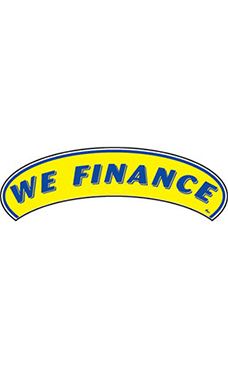 "Arch Windshield Slogan Sticker - Blue/Yellow - ""We Finance"""
