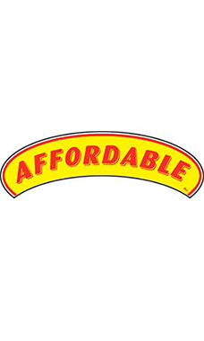 "Arch Windshield Slogan Sticker - Red/Yellow - ""Affordable"""