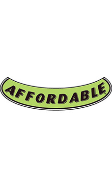 "Smile Windshield Slogan Sticker - Black/Neon Green - ""Affordable"""
