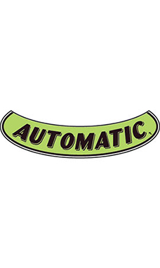 "Smile Windshield Slogan Sticker - Black/Neon Green - ""Automatic"""