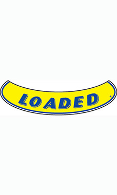 "Smile Windshield Slogan Sticker - Blue/Yellow - ""Loaded"""