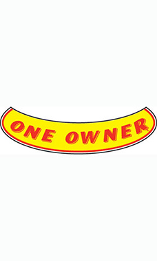 "Smile Windshield Slogan Sticker - Red/Yellow - ""One Owner"""