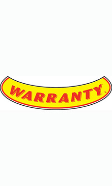 "Smile Windshield Slogan Sticker - Red/Yellow - ""Warranty"""