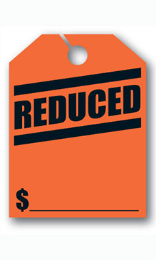 "Mirror Hang Tags - Fluorescent Red - ""Reduced"""
