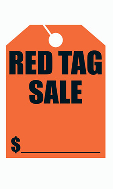 "Mirror Hang Tags - Red - ""Red Tag Sale"""