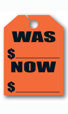 "Mirror Hang Tags - Fluorescent Red - ""Was Now"""