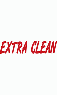 "Designer Cut Windshield Slogan Sticker - Red/White - ""Extra Clean"""