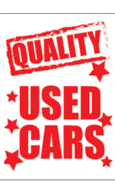 "Jumbo Under The Hood Sign - ""Quality Used Cars"""