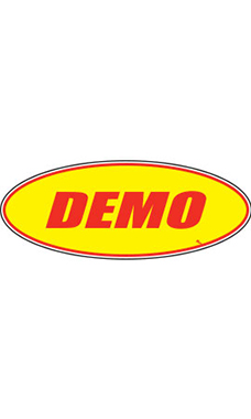 "Oval Windshield Slogan Sticker - Red/Yellow - ""Demo"""