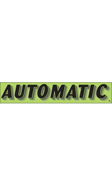 "Rectangular Slogan Windshield Sticker - Green - ""Automatic"""