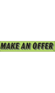 "Rectangular Slogan Windshield Sticker - Green - ""Make An Offer"""
