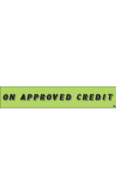 "Rectangular Slogan Windshield Sticker - Green - ""On Approved Credit"""
