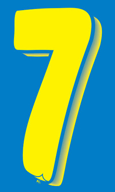 "7 ½ inch Windshield Numbers And Symbols - Blue/Yellow - ""7"""