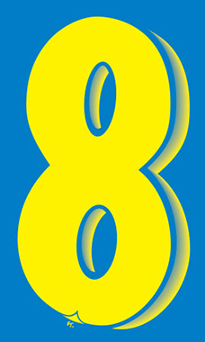 "7 ½ inch Windshield Numbers And Symbols - Blue/Yellow - ""8"""