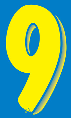 "7 ½ inch Windshield Numbers And Symbols - Blue/Yellow - ""9"""
