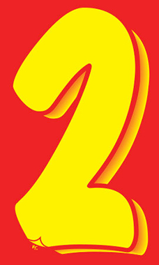 "7 ½ inch Windshield Numbers And Symbols - Red/Yellow - ""2"""