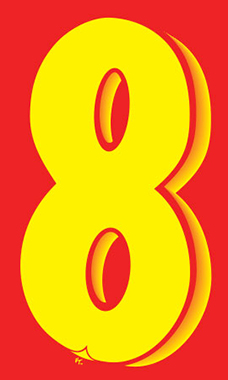 "7 ½ inch Windshield Numbers And Symbols - Red/Yellow - ""8"""