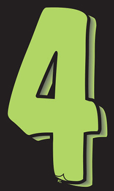 "7 ½ inch Windshield Numbers And Symbols - Neon Green/Black - ""4"""