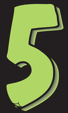 "7 ½ inch Windshield Numbers And Symbols - Neon Green/Black - ""5"""