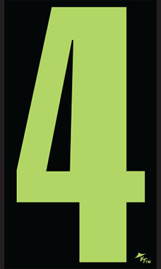 "9 ½ inch Windshield Numbers And Symbols - Neon Green/Black - ""4"""