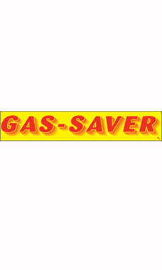 "Rectangular Slogan Windshield Sticker - Red/Yellow - ""Gas Saver"""