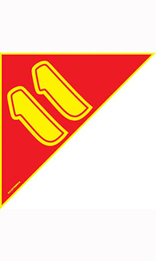 "Corner Windshield Year Stickers - Red/Yellow - ""11"""