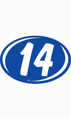 "Oval 2-Digit Year Stickers - White/Blue - ""14"""
