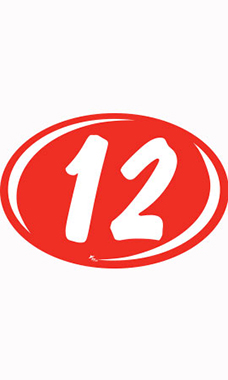 "Oval 2-Digit Year Stickers - White/Red - ""12"""