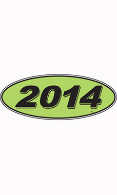 "Oval Windshield Year Stickers - Black/Neon Green - ""2014"""