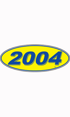 "Oval Windshield Year Stickers - Blue/Yellow - ""2004"""