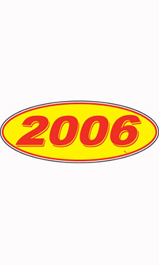 "Oval Windshield Year Stickers - Red/Yellow - ""2006"""