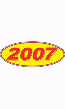 "Oval Windshield Year Stickers - Red/Yellow - ""2007"""