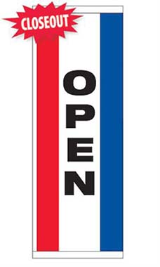 "Large Double Sided Vertical Stripe Message Flag - ""Open"""