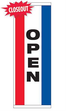 "Large Single Sided Vertical Stripe Message Flag - ""Open"""