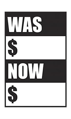 "Quick Sale Stickers - Black - ""Was Now"""