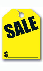 "Mirror Hang Tags - Fluorescent Yellow - ""Sale"""